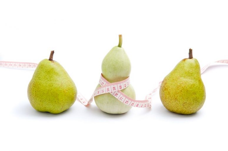 11989847 - use trigonella to represent women's curvy shape and pear to represent pear shaped body